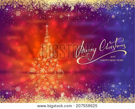 Abstract blue red background with frame and golden Christmas tree made of snowflakes, illustration.