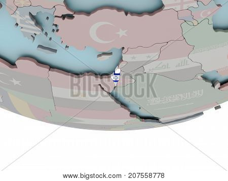 Israel With Flag On Globe