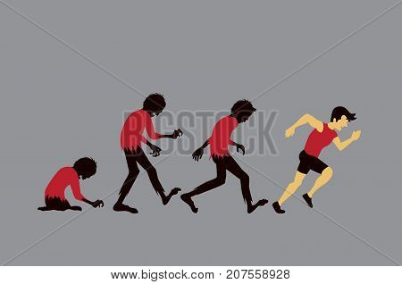 Zombie evolution into man with running exercise. Illustration is a concept about healthy from workout.