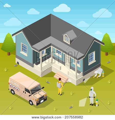 House disinfection isometric background with exterminators in protective suits using repellent for cleaning of rural cottage vector illustration