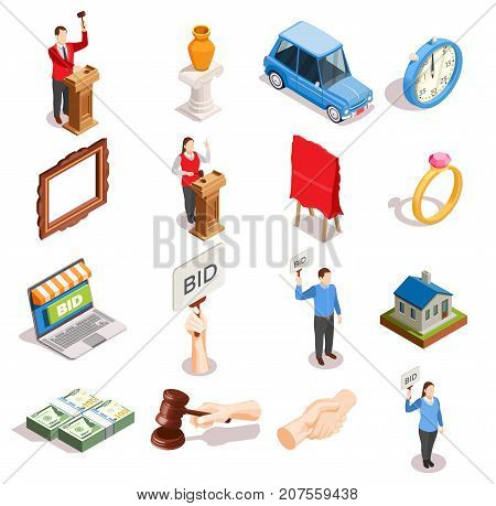 Auction isometric icons set of isolated goods human characters hammer handshake and money images with shadows vector illustration