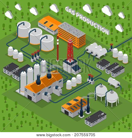 Gas production isometric composition with industrial facilities including buildings, station, smokestacks, pipeline, tanks for storage vector illustration