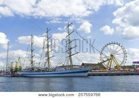 Szczecin Poland 7 august 2017: Ship at the quay during the finale of The Tall Ships Races 2017 in Szczecin.