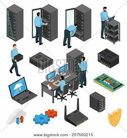 Datacenter equipment isometric set with engineers collecting the server racks isolated vector illustration