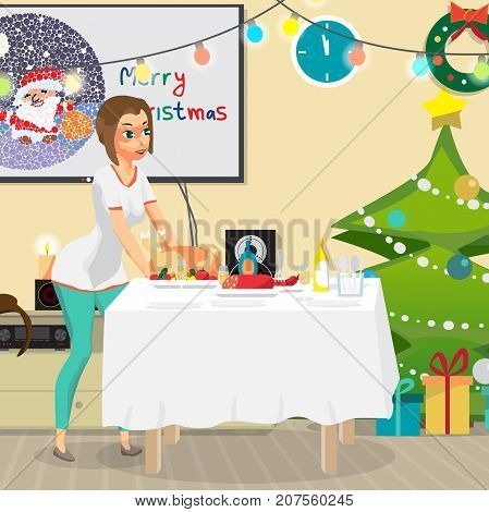 Christmas room interior. Christmas tree, gift and decoration. Young woman housewife sets a festive dinner on the table. The girl puts a fried chicken on the table. Flat cartoon vector illustration