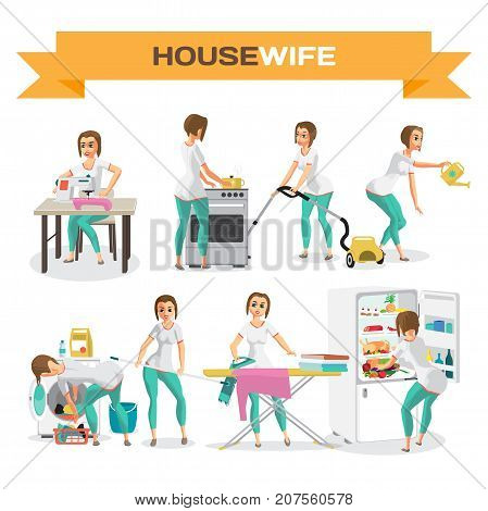 Set of woman housewife. Flat cartoon vector illustration