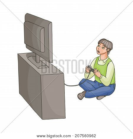 Teenage boy playing game console using TV and joystick sitting on the floor, flat cartoon vector illustration isolated on white background. Full length portrait of teenage boy playing game console