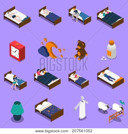 Sleep time set of isometric icons with persons in bed, clock on blue background isolated vector illustration