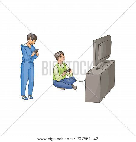 vector flat cartoon teen boy playing video console game by joystick sitting near tv panel stand, kid using smartphone Isolated illustration on a white background. modern digital visual technology
