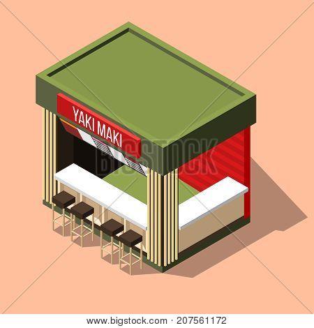Isometric small empty yaki maki sushi bar on pink background 3d vector illustration