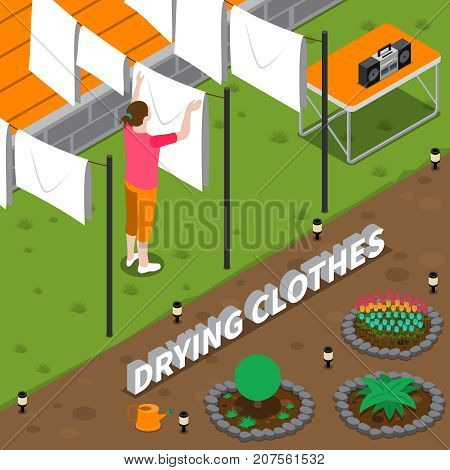 Drying clothes isometric composition with housewife hanging wet linen on rope in yard of house vector illustration