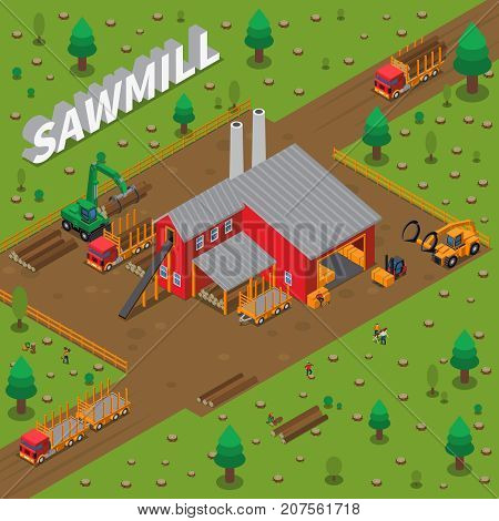 Colored sawmill timber mill lumberjack isometric composition with construction of building in a sawmill vector illustration