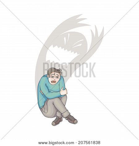 vector flat cartoon young man suffering from depression, fear. Stressed male character sitting holding knees, monster shadow behind. Isolated illustration on a white background. Mental illness concept