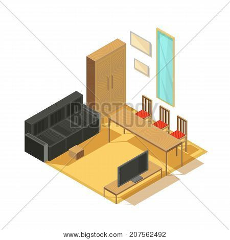 Furniture isometric set of furnished room items armoire sofa tv set mirror and chairs with table vector illustration