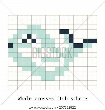 Cross-stitch pixel art butterfly whale animal vector set. Cross-stitch brick style zoo for kid building kit toys or embroidery scheme products.