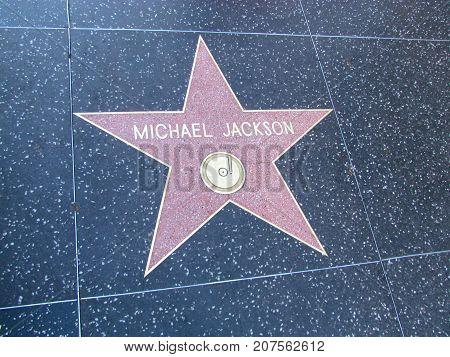 Los Angeles California USA, 10 February 2011: Singer Michael Jackson star on Hollywood boulevard walk of fame in LA
