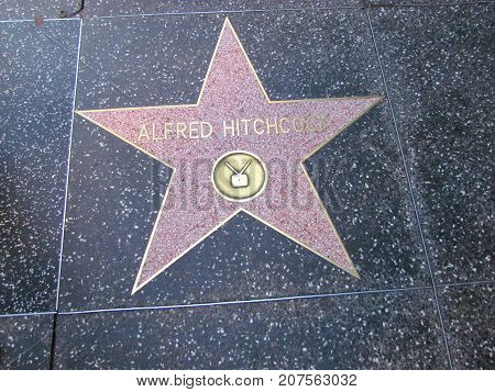 Los Angeles California USA, 10 February 2011: Director Alfred Hitchcock star on Hollywood boulevard walk of fame in LA