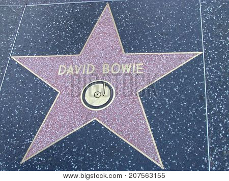 Los Angeles California USA, 10 February 2011: Singer David bowie star on Hollywood boulevard walk of fame in LA