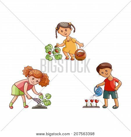 vector flat children at garden scene set. Girl holding basket collecting strawberries, another one loosening soil, boy watering tulip flowers by can. Isolated illustration on a white background.