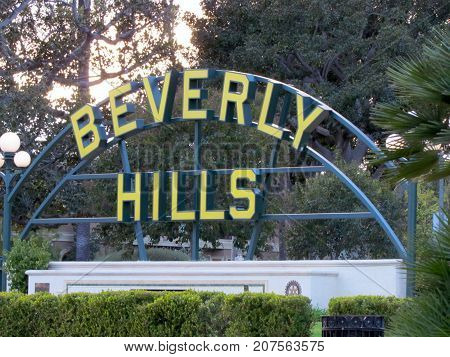 Los Angeles California USA, 25 February 2011: Beverly Hills Sign shield in a park on Santa Monica boulevard