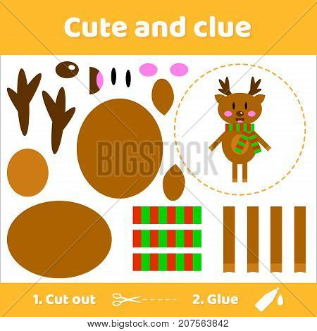 Vector illustration. Cute deer in scarf. Education paper game for preschool kids. Use scissors and glue to create the image.