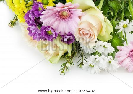 Flowers For The Girlfriend Lies On White Table