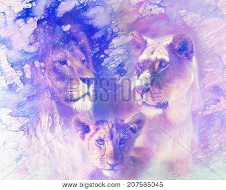 Lion family - lion, lioness and lion cub, on abstract structured background. Marble effect