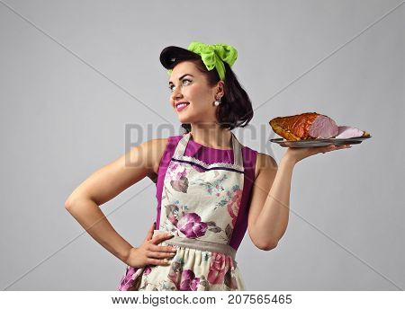 Beautiful Woman With Smoked Meat.