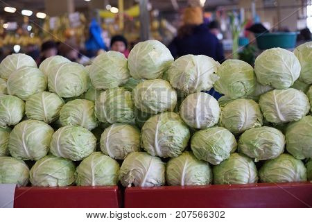 Cabbage In A Marketplace