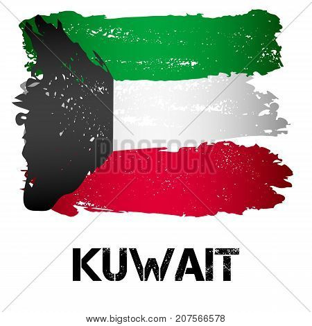 Flag of Kuwait from brush strokes in grunge style isolated on white background. Arab country in Persian Gulf in Western Asia. Vector illustration