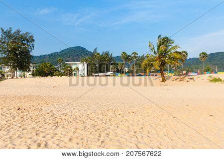 PHUKET THAILAND - APRIL 17: Daytime view of the Karon Beach on April 17 2016 in Phuket Thailand
