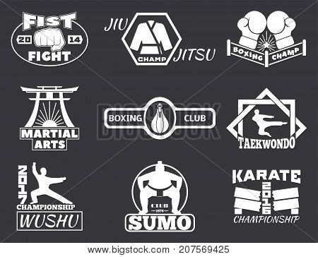 Set of cool fighting club emblems, labels, fight badges, logos. Martial training champion graphic style. Punch sport fist karate vintage symbol vector illustration.