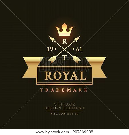 Gold vintage retro badge with arrows and crown on the black background. Royal trademark