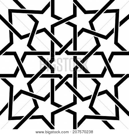 Moroccan tile black and white design, Moorish seamless vector pattern, Geometric abstract tiles