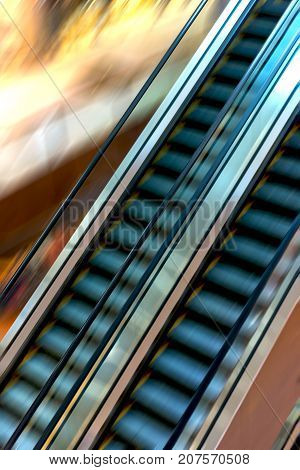 Shopping Mall Escalators In Motion