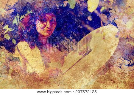 shamanic girl with frame drum on abstract structured background