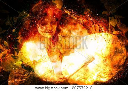 shamanic girl with frame drum on abstract structured space background. Fire element