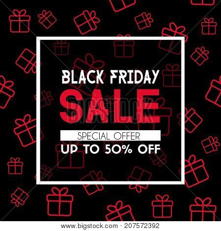 Black friday sale banner. Vector promotional template