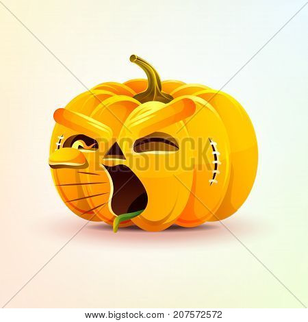 Stock vector illustration horrible cartoon Jack-o-lantern, terrible facial expression pumpkin, yelling scream smiley emotion, emoji, sticker for celebrating Day all Saints, Happy Halloween flat style