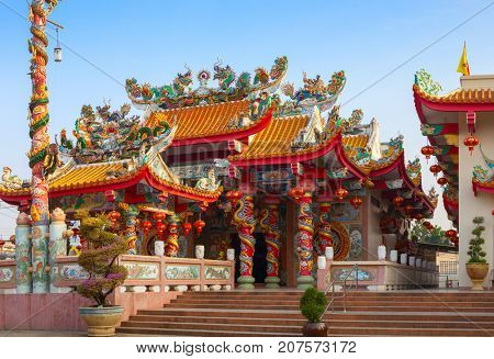 Old Chinese temple at sunny morning in Mae Sot, Tak Province, western Thailand.