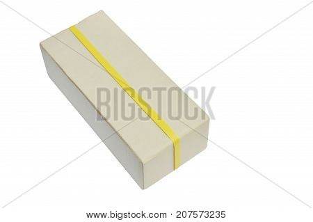 brown hard paper mailbox wrapped by yellow plastic band on white background