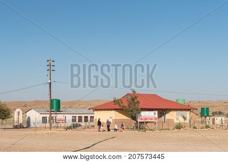 KLEIN MIER SOUTH AFRICA - JULY 6 2017: The primary health care clinic and a primary school of the United Reformed Church in Klein Mier (small ant) a village in the Northern Cape Province of South Africa
