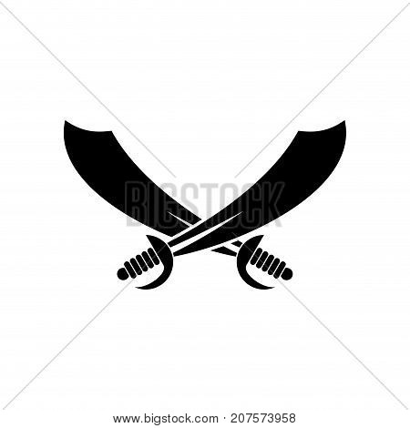 Sabers Crossed. Pirate Sword Sign Isolated. Vector Illustration