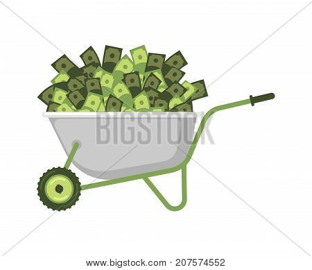 Wheelbarrow And Money. Cash In Garden Trolley. Vector Illustration