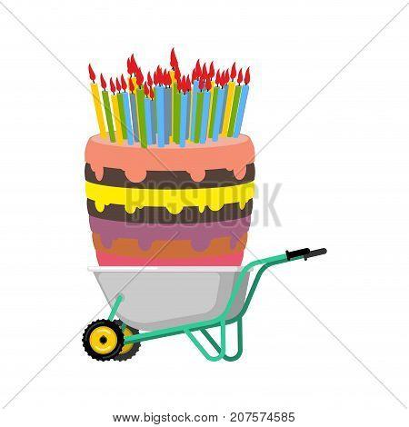 Wheelbarrow And Big Birthday Cake. Large Pie In Garden Trolley. Vector Illustration