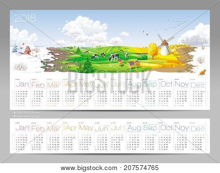 Calendar for 2018 Year - all the year round - four seasons and 12 months of the year with set  of two different calendar grids on 2018 (start at Sunday and at  Moday) at a rural panorama