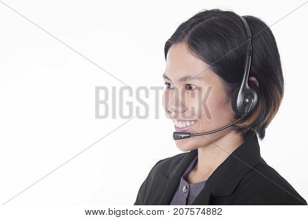 Asia women happy smiling customer support operator with headset isolated on white background.