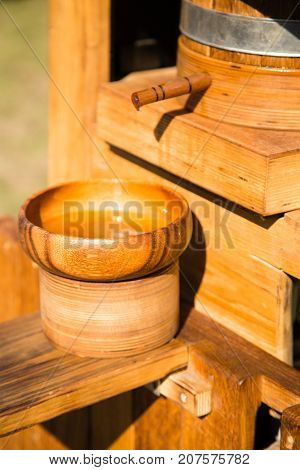 Ancient wooden apparatus for extracting oil from seeds .