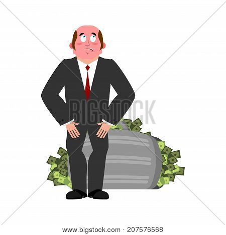 Bribe Taker And Suitcase Of Money. Shame Boss. Fie Upon You! On Businessman. Caught Red-handed. Vect