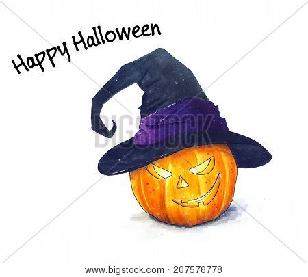 Halloween Pumpkin with witch hat Hand Drawn illustration